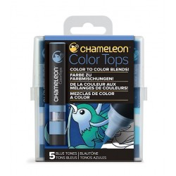 SET 5 COLOR TOPS COLORES AZULES, CHAMELEON